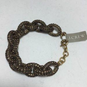 NWOT J. Crew Antique Gold Pave Link Bracelet